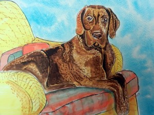 Watercolor of Meshach on his chair